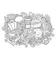 fastfood hand drawn cartoon doodles vector image vector image