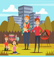 fathers and kids orthogonal composition vector image vector image