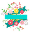 Flowers and leaves with ribbon for text vector image vector image