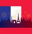 france flag with landmarks skyline celebration vector image vector image