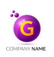 g letter splash purple dots and circle bubble vector image vector image