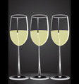 glasses white wine on table with dark background vector image vector image