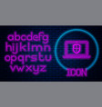 glowing neon laptop protected with shield icon vector image vector image