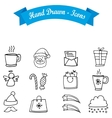 Hand draw collection Christmas icon vector image
