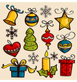 Hand drawn Christmas ornaments vector image