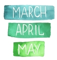 hand painted watercolor tablets with spring months vector image