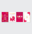 happy chinese new year flyer set 2021 year vector image vector image