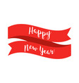 happy new year text with red ribbon on white vector image vector image