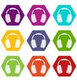 headphones icon set color hexahedron vector image vector image