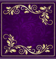 luxury gold pattern frame on a beautiful violet vector image vector image