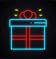 neon gift box sign prize present win reward vector image vector image