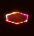 neon light hexagon on dark red background vector image