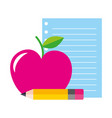 paper apple and pencil supplies school vector image vector image