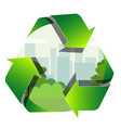 recycling label with the park zone and town inside vector image vector image