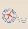 round blue postmark with red airplane symbol on vector image