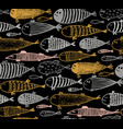 seamless pattern with hand drawn cute fish in vector image vector image
