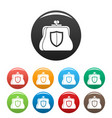 secure purse icons set color vector image vector image