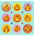 set nine icons pumpkin with different face vector image vector image