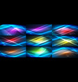 set of blue neon smooth wave digital abstract vector image