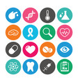 set of healthcare medicine and diagnosis icons vector image