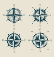 set old or retro compass or wind rose vector image vector image