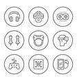 set round line icons virtual reality vector image vector image