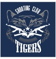 Shooting Club - emblem with crossed guns and tiger vector image vector image