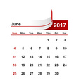 simple calendar 2017 year june month vector image vector image