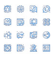 social media communication line icons set vector image