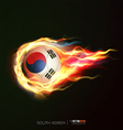 South Korea flag with flying soccer ball on fire vector image vector image