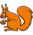 squirrel cartoon animal character with acorn vector image vector image
