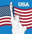 Statue of Liberty and American flag Symbol of vector image vector image