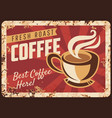 steaming coffee cup rusty metal plate vector image vector image