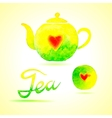 Tea set Design elements painted in watercolor vector image vector image