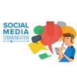 teen boy messaging communicate on internet vector image vector image