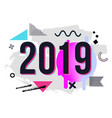 trendy new year 2019 greeting card with chaotic vector image