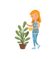 young woman in casual clothing watering her potted vector image vector image