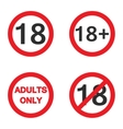 Under eighteen sign Under 18 adults only warning vector image