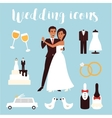 Wedding icons set Bridal ceremony car dress and vector image