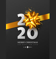 2020 new year sign with 3d golden bow vector image vector image