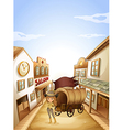 A girl standing near the saloon vector image vector image