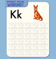 alphabet tracing worksheet with letter k and k vector image vector image