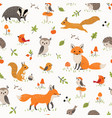 bapattern with cute little woodland animals vector image vector image