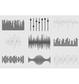 black sound music waves on white background audio vector image