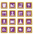 building process icons set purple square vector image