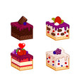 cakes pieces set vector image vector image