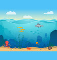 cartoon sea underwater scene color background vector image vector image