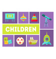 children banner template babies toys and vector image