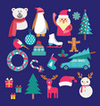christmas set with santa claus snowman reindeer vector image vector image