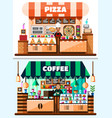 coffee house and pizza shop interior with barista vector image vector image